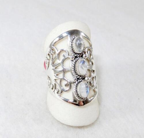 Rainbow Moonstone 3-Stone Wide Ring Sterling Silver Sizes 6.5 8.75 9.5 7.5
