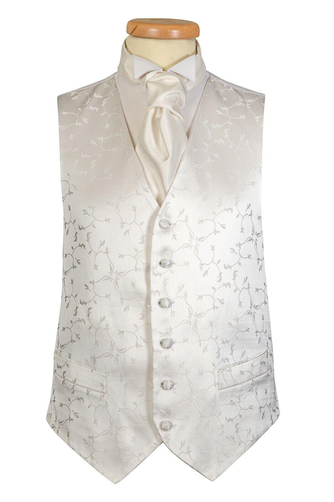 Ivory Leaf Wedding Suit Waistcoat UK (A22) Sizes 36 38 40 42 44 46