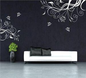 Butterfly Vine Flower Vinyl Wall Art Stickers Wall Decals Uk Rui242