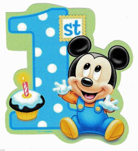 "4/"" Disney babies baby mickey mouse 1st birthday heat transfer iron on"