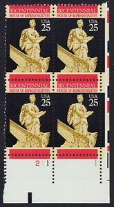 #2412 25c Cámara de Los Representatives, Placa Bloque [211-1 LR ] Cualquier 4=