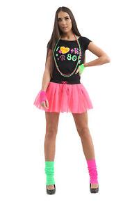 New Girls Ladies I Love The 80s Set Black T-shirt Pink Tutu Skirt Fancy Dress UK
