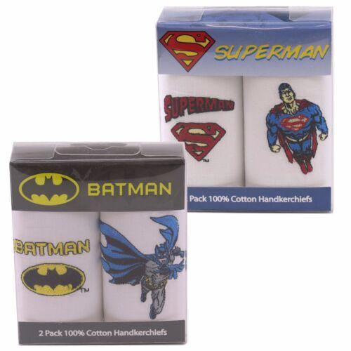 BNIB, Batman or Superman Superheroes 2 Pack Cotton Handkerchiefs