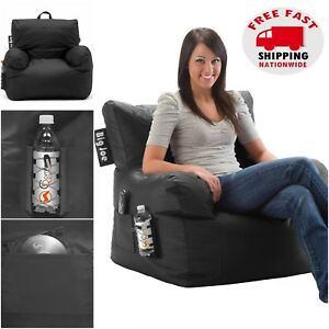 Big Joe Bean Bag Chair Black College Dorm Room Kids Video Gaming Tv