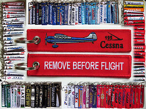 Keyring-CESSNA-195-Pilot-RED-Remove-Before-Flight-tag-keychain-LC-126
