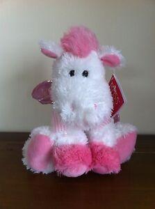 RUSS-Berrie-Pink-White-Pegasus-Soft-Plush-Toy-Medium-Called-Opal-Sitting