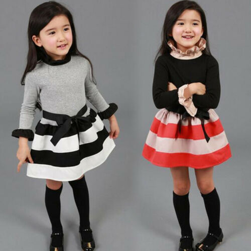 Kid Girl Long Sleeve Mini Dress Princess Formal Wedding Party Pageant Outfits UK