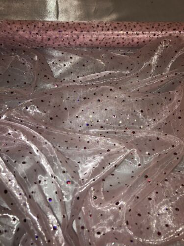 """3 mtr baby pink sequin hologram organza fabric 58""""wide.voile,wedding,bridal"""