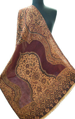 Large Wool Jamavar Paisley Shawl Burgundy /& Taupe Pashmina Style Mughal Inspired