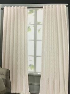 New Tahari Home Set Of 2 Window Panels Drapes Tan White