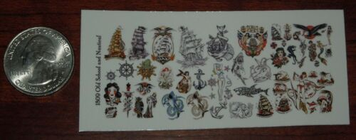 Old School and Nautical-Waterslide Decals 1//18 Scale Custom Tattoos