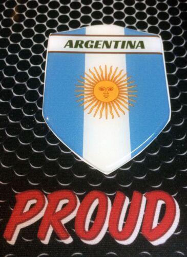 "Argentina Messi Proud Shield Flag Domed Decal Emblem Sticker Car 3D 2.3/""x 3.3"