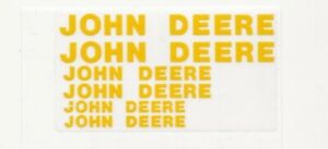JOHN DEERE Decals, Block Style for 1/16 Implements, Yellow on Clear, 3 Sizes
