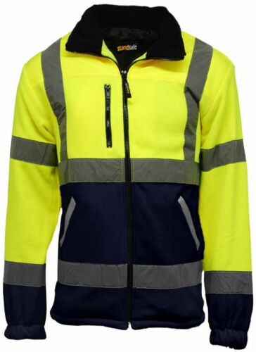 HI VIZ VIS VISIBILITY HOODED REFLECTIVE WORK ZIP FLEECE SWEATSHIRT JACKET GILET