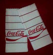 COCA COLA LOGO SODA COKE EMBROIDERED KITCHEN TOWEL SET 2 - WHITE MAROON STRIPE