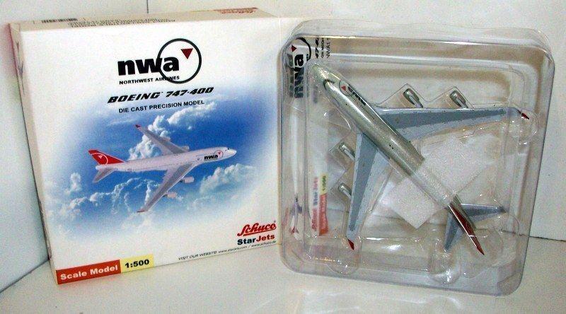 Schuco 1   500 - skala sjnwa199 boeing 747 - 400 nwa n661us