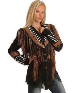 Women-Fashion-Coat-Cow-lady-Suede-Leather-Ladies-Western-Jacket-Fringes-Beads
