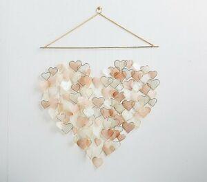 NEW-Pottery-Barn-Kids-Capiz-Heart-Wall-Hanging-Valentine-039-s-Day-Decor