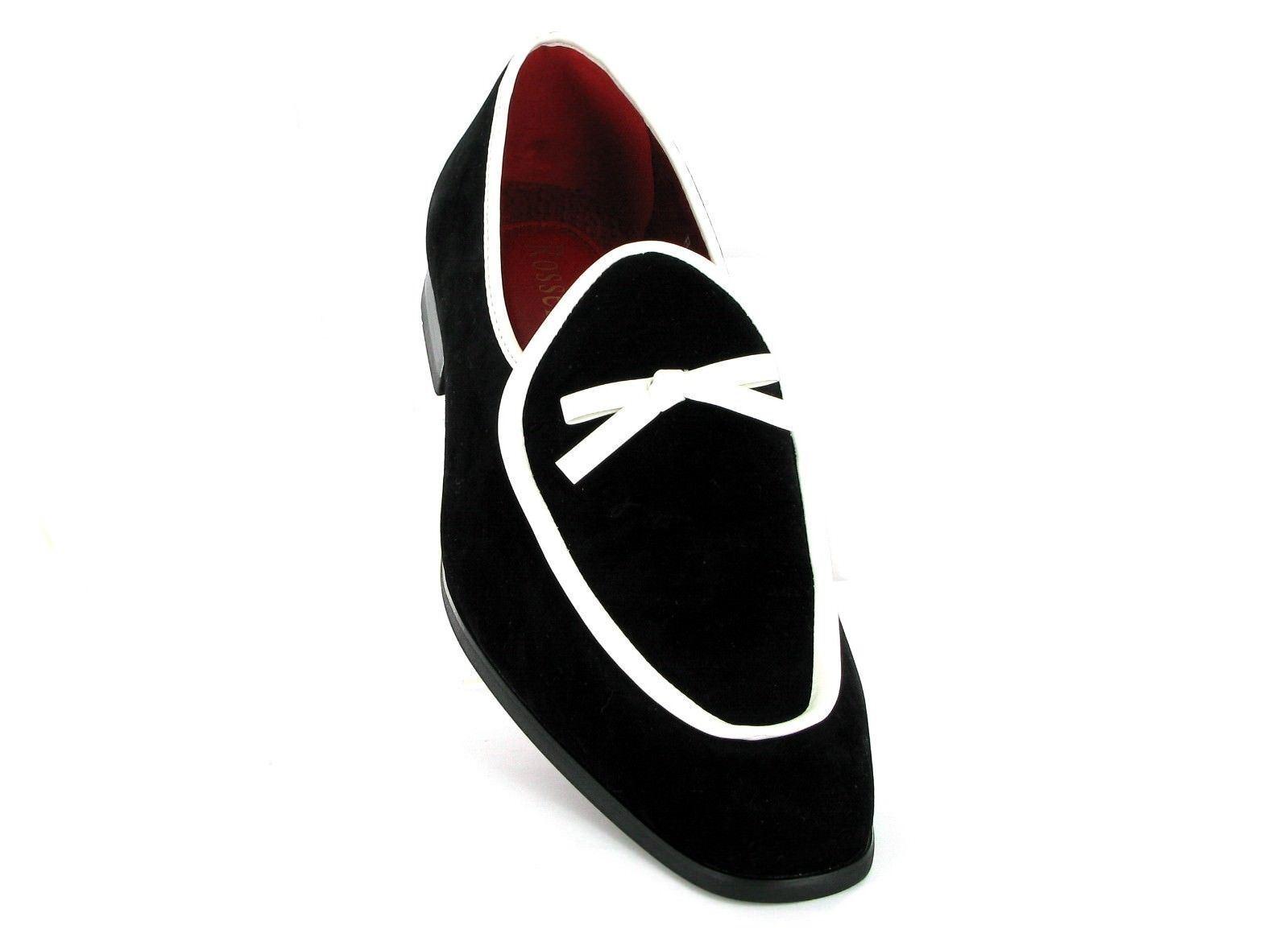 Rossellini Jude Da Uomo Mocassino Scarpe Scarpe Scarpe Nero Bianco in Finta Pelle Scamosciata Stile Mocassino a pugni | Nuovo Arrivo  | Scolaro/Signora Scarpa  77b439