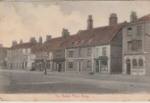 Vintage-POSTCARD-BRIGG-THE-Market-NORTH-LINCOLNSHIRE-1908