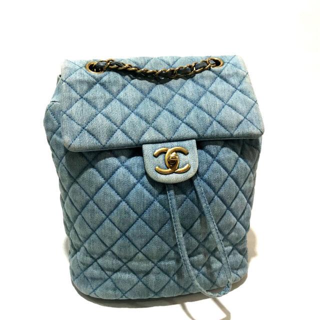 CHANEL CC Matelasse Backpack-Bag Light Blue Denim/Canvas A91121