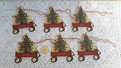 Christmas~Primitive~Rustic~Pine~Trees~Folk Art~Linen Cardstock~Gift~Hang~Tags