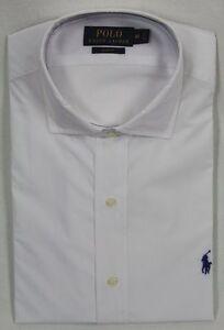 Ralph-Lauren-White-Slim-Fit-Dress-Shirt-Navy-Blue-Pony-NWT