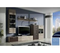 Living Room Furniture Set Display Modern Wall Unit Tv Cabinet chocolate Sand