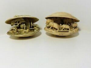 PAIR OF VINTAGE CELLULOID SHELL  DIORAMA