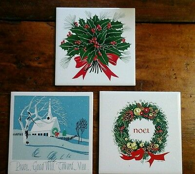 VINTAGE Set/3 6x6 CHRISTMAS TILE TRIVETS (2 Screencraft/1 ArtTileStudio)