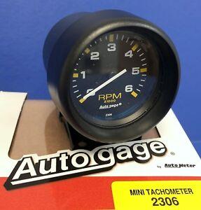 auto meter autogage 2306 mini tachometer 6000 rpm black pedestal