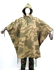 German-Army-Splinter-Camo-Canvas-Poncho-Sheet-Camouflage-Vintage-WW2-Heer