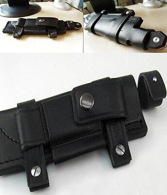 "Super Straight Leather Belt Sheath For 7"" Fixed Knife blade black"