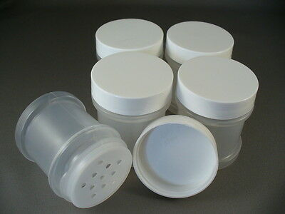 Plastic Spice Bottles Jars 1 oz  With Sifter Caps Lot of 5 FREE US SHIPPING 1oz