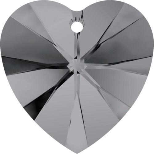 Swarovski 6228 Xilion Heart Pendant Crystal Silver Night Pack of 4
