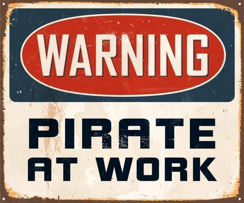 Decal Warning Pirate At Work Vinyl Sticker Wall Art Novelty 37 Laptop