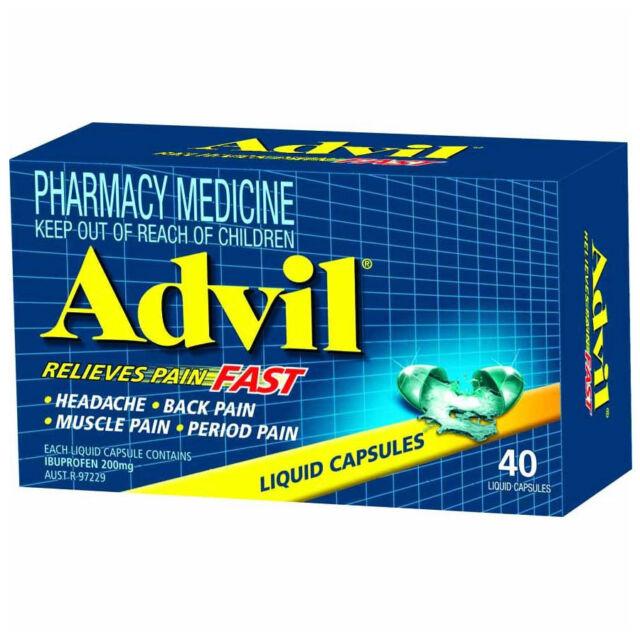 ツ ADVIL 40 LIQUID CAPSULES RELIEVES PAIN FAST BODY ACHES PERIOD & MUSCLE PAIN