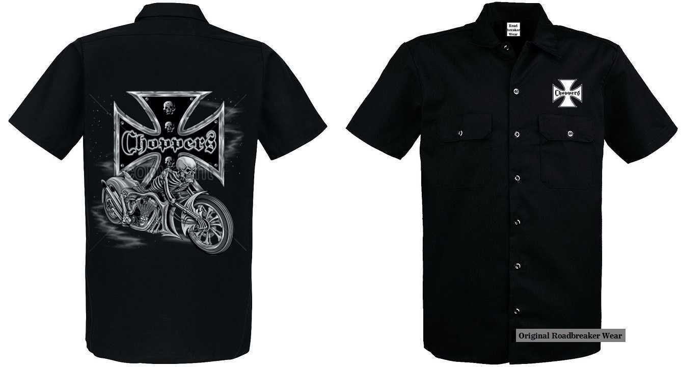 Worker Shirt Vintage HD Biker Chopper & Oldschoolmotiv Model Skeleton Biker