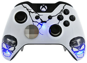 skulls blue xbox one elite un modded custom controller unique