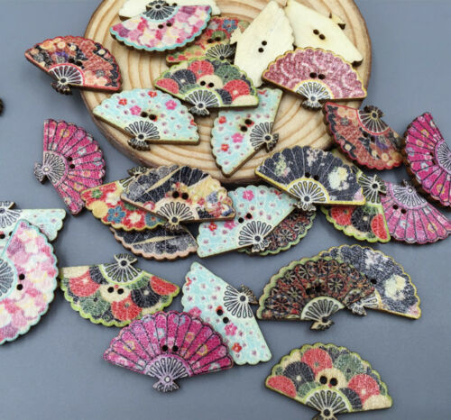 DIY 50X Wooden Sewing Scrapbooking Buttons retro style Fan  Shape 2-Holes 30mm
