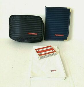 TWA First Class Toiletry Travel Bag KitStationery Note Kit Napkin +++