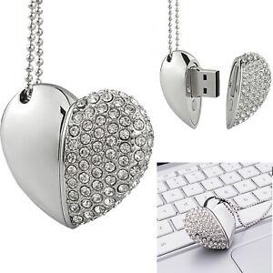 32GB USB2.0 Crystal Diamond Heart Flash Drive Thumb Flash Pen Drive Memory Stick