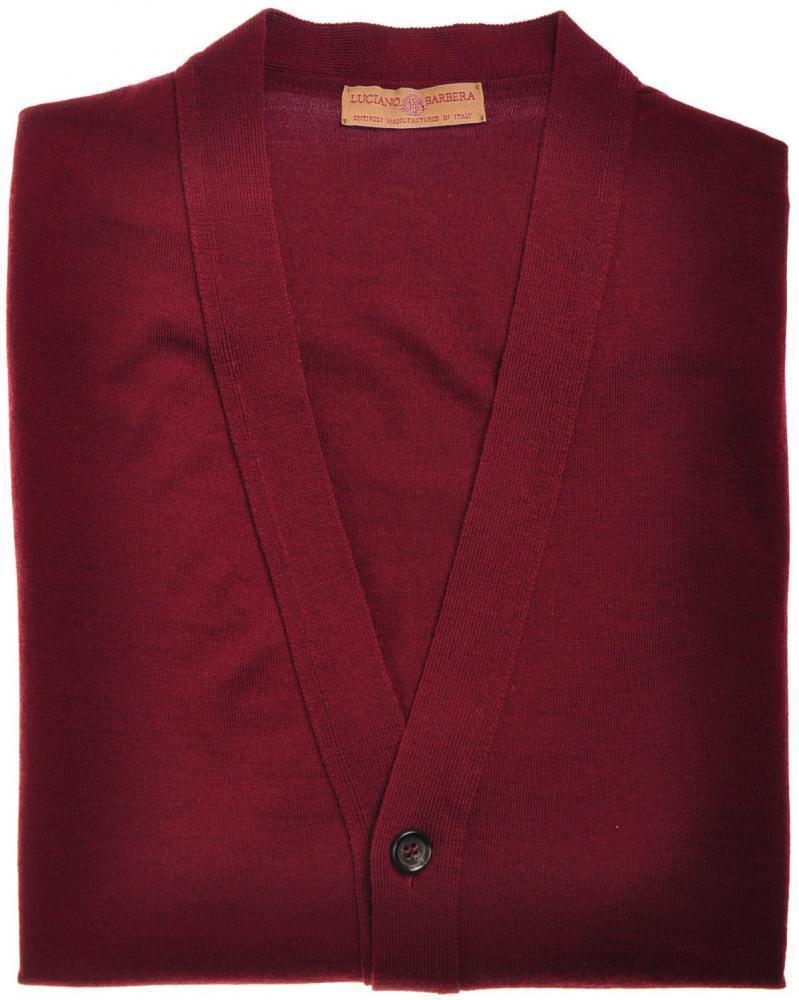 Luciano Barbera Sweater Cardigan Vest Wool 50 Medium Burgundy 48SW0138 595