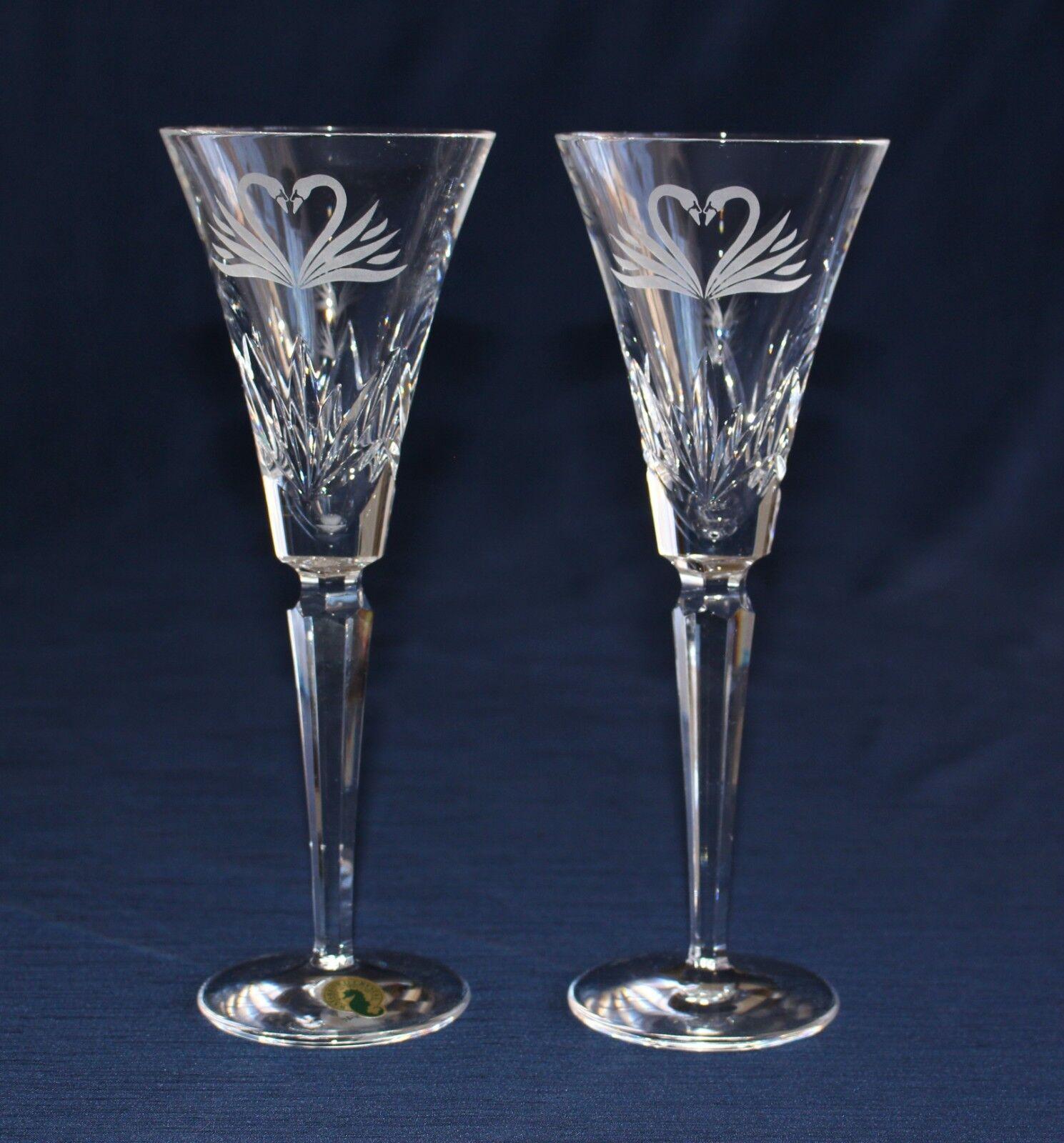 2 Waterford Cristallo Abbrustolire Matrimonio Calice per Champagne Inciso Cigno