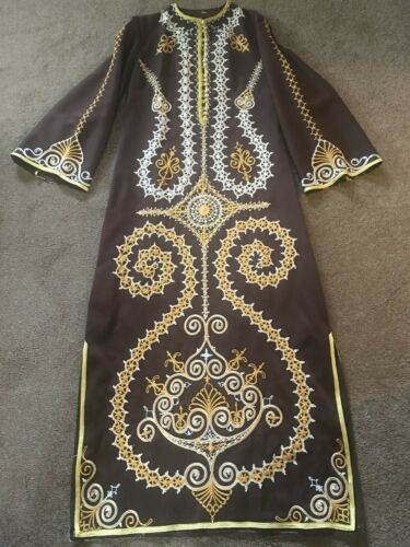 Royal Egyptian Brown Embroidered Dress