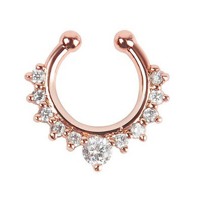 1Pc Fake Septum Clicker Nose Ring Non Piercing Hanger Clip On Jewelry