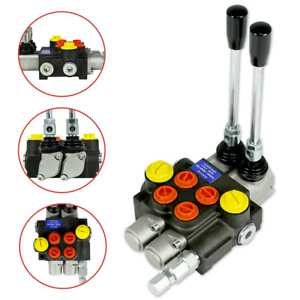 Hydraulic-Directional-Control-Valve-Tractor-Loader-w-Joystick-2-Spool-13GPM