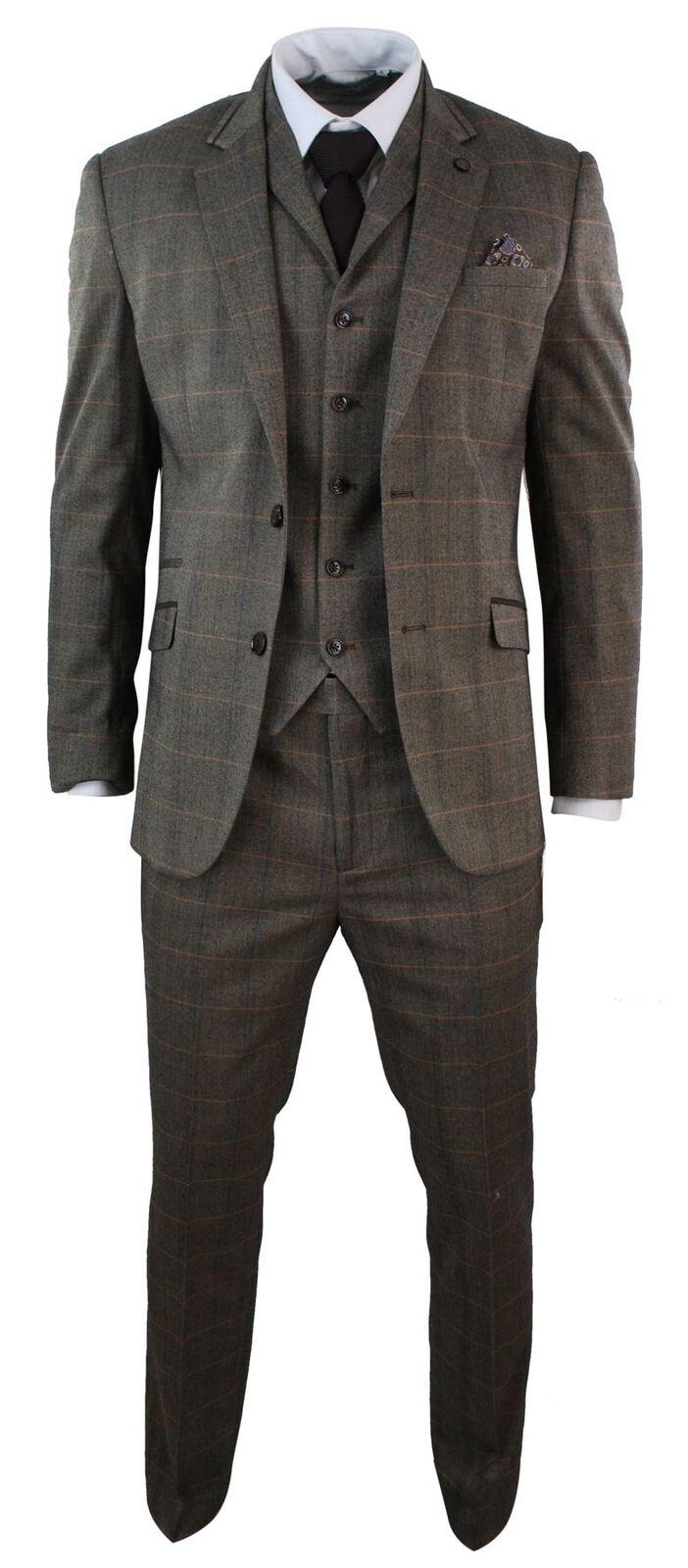 Costume homme 3 pièces tweed à carreaux brown coupe cintrée vintage empiècement
