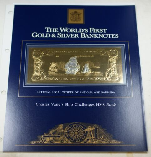 1981 Antigua/Barbuda $100 Gold/Silver Note-Charles Vane Ship Challenges HMS Buck