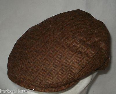 48c550893 Man's flat cap hat HERRINGBONE TWEED NAVY BLUE OLIVE GREEN BROWN OR GREY  SIZES | eBay